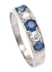 Sale 8915 - Lot 390 - AN 18CT WHITE GOLD SAPPHIRE AND DIAMOND RING; tapered band set across the top with 2 Old European cut diamonds totalling approx. 0.2...