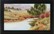 Sale 9028 - Lot 2031 - Christine De Stoop (1948 - ) - Cattle Grazing by the Cudgegong River, Rylstone 23 x 39.5 cm (frame: 30 x 46 x 2 cm)