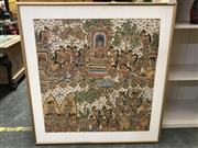 Sale 9024 - Lot 2098 - An Indonesian Folk Painting on cotton, 97 x 93cm (frame)