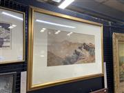 Sale 9041 - Lot 2025 - Henri Tebbitt, Mountain Views from the Plateau, watercolour, 31 x 58 cm, frame size: 63 x 90 cm, signed lower right