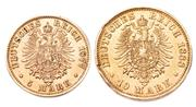 Sale 9083 - Lot 466 - TWO GERMAN STATES PRUSSIA GOLD COINS; 10 mark, 1888, and a 5 mark, 1877, coins in .900 gold, total wt. 5.94g.