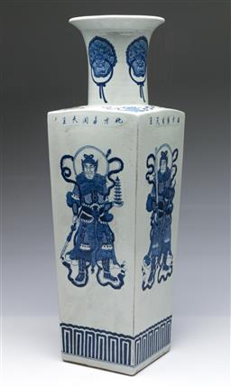 Sale 9098 - Lot 438 - Tall Chinese Blue and White Four Sided Vase featuring Immortal Warriors (H51.5cm)