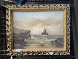 Sale 9113 - Lot 2011 - Pair of Early Maritime Paintings, largest frame size 29 x 37 cm