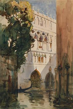 Sale 9161 - Lot 523 - ARTHUR STREETON (1867 - 1943) A Venetian Palace watercolour 52.5 x 36 cm (frame: 69 x 51 x 3 cm) signed lower right, signed and titl...