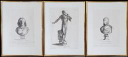 Sale 9162 - Lot 1009 - Set of three late 18th Century classical engravings, with a full figure of Marcus Aurelius & two Imperial wives busts, in gilt frames