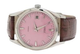 Sale 9177 - Lot 382 - AN ADMES STAINLESS STEEL SWISS AUTOMATIC WRISTWATCH; pink dial, center seconds, date, 21 jewel ETA cal. 2452 movement, case diam. 35...