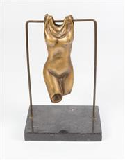 Sale 8575J - Lot 49 - Artist unknown. Hanging female torso, gilded bronze on marble base. height 24cm