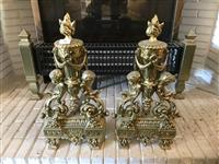 Sale 8392H - Lot 38 - A pair of brass fire dogs in classical style, H 47cm