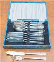 Sale 8402H - Lot 63 - A cased set of six fish knives and forks, by Angora.