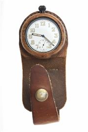 Sale 8502 - Lot 328 - AN AUSTRALIAN DEFENSE DEPARTMENT EARLY WWII WIRELESS SET TIMEPIECE; white enamel dial, phosphorus Arabic numerals, subsidiary second...
