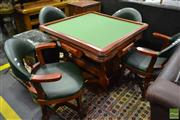 Sale 8499 - Lot 1351 - Games Setting incl. Fold Over Table with Ashtrays, Drawers & Set of Four Timber Framed Chairs with Green Leather Upholstery