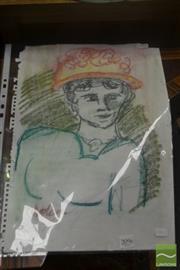 Sale 8525 - Lot 2096 - Artist Unknown - Portrait (Sketch) 42 x 29.5cm (sheet size)