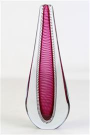 Sale 8926 - Lot 46 - Narrow art glass vase with spiral form insert by Julio Santos, signed to base (H30.5cm)
