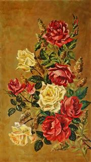 Sale 9047A - Lot 5044 - Ethel Anna Stephens (1864 - 1944) - Yellow & Red Roses 80 x 45 cm (frame: 97 x 61 x 5 cm)