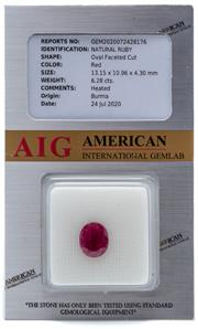 Sale 9046 - Lot 513 - AN UNSET 6.28CT RUBY; oval cut with AIG grading stating origin Burma, heat treated.