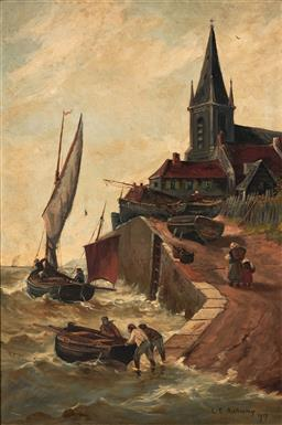 Sale 9125 - Lot 614 - L E Anthony Launching the Boat, 1917 oil on canvas (AF) 85 x 45 cm (frame: 80 x 59 x 4 cm) signed and dated lower right