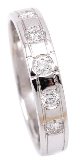 Sale 9132 - Lot 502 - AN 18CT WHITE GOLD DIAMOND RING; 4mm wide band grain set with 5 round brilliant cut diamonds totalling approx. 0.40ct, size T, wt. 3...