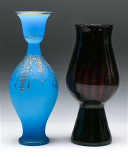 Sale 9144 - Lot 199 - An art glass amethyst vase (H:26cm) together with another (H:28cm)