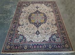Sale 9179 - Lot 1075 - Persian Wool Carpet, with unusual double medallion with pendants & arabesques on cream field (380 x 273 cm)