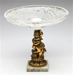 Sale 9254 - Lot 2414 - A figural brass and marble based comport (H:28cm) - top broken from base