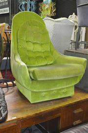 Sale 8175 - Lot 1033 - Green 1970s Upholstered Swivel Chair with Footstool