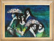 Sale 8250 - Lot 57 - William Drew 1928-1983 Five Mexican Girls oil on board  signed lower right