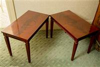 Sale 8392H - Lot 39 - A pair of mahogany rectangular coffee tables with tapering legs, H 49cm