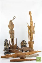 Sale 8486 - Lot 82 - Carved Cultural Items inc Crocodiles, Fish, Heads, Figures and A Club