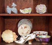 Sale 8804A - Lot 66 - Two shelves of ceramics including Worcester shell dish, Wedgwood bowl and encrusted ceramics