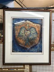 Sale 8861 - Lot 2054 - Ingrid Johnstone Shield etching and aquatint, ed. 4/25 , 56 x 49cm; 92 x 80.5cm (frame), signed -