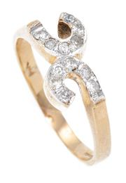Sale 8915 - Lot 314 - A 14CT GOLD DIAMOND RING; double C motif set with 12 round brilliant cut diamonds, some chipped, size R, wt. 3.23g.