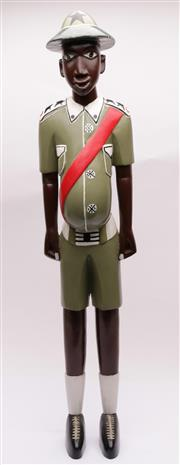 Sale 9032 - Lot 35 - Timber Carved Painted Figure of a Colonial African Guard (H80cm)