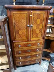 Sale 9048 - Lot 1042 - Louis XVI Style Marquetry Bow Front Cabinet, with two chequer-board panel doors, four drawers & turned feet (H: 165 x W: 88 x D: 50 cm)