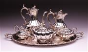 Sale 9081 - Lot 87 - A Sheffield Silver Plated Tea/Coffee Service In The Victorian Manner (Tray W: 65cm)