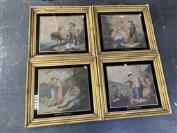 Sale 9159 - Lot 2035 - A set of four engravings of pastoral scenes, frame: 50 x 50 cm