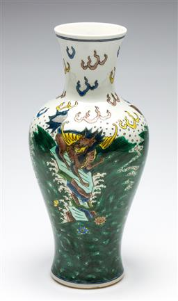 Sale 9253 - Lot 117 - A famille verte Chinese vase with zoomorphic decorations (H:30cm)