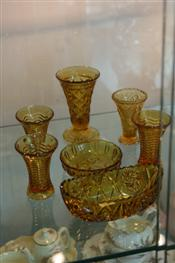 Sale 7876 - Lot 51 - Amber Pressed Glass Wares