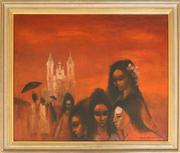 Sale 8250 - Lot 58 - William Drew 1928-1983 Five Mexican Girls oil on board signed lower right