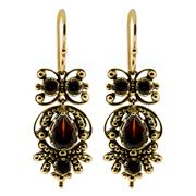 Sale 8426 - Lot 440 - A PAIR OF VICTORIAN STYLE GARNET EARRINGS; 9ct bead style settings with round and pear cut red garnets, drop 20mm.