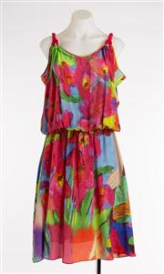 Sale 8640F - Lot 70 - An Ice Iceberg silk multi coloured venetian style dress, size 42, RRP $890 together with a Zodiac floral silk dress with pink trim,...