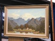 Sale 8711 - Lot 2079 - Gerhardt Wagner - Mountainous Scene near Ceres South Africa, mixed media SLR