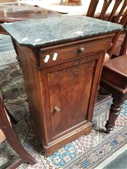 Sale 8868 - Lot 1037 - 19th Century French Walnut Bedside Cabinet, with black marble top, single drawer & door