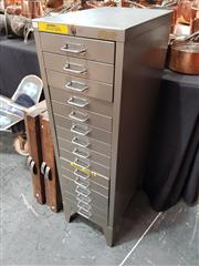 Sale 8872 - Lot 1006 - Metal Rigby Filing Cabinet of 15 Drawers