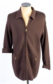 Sale 8926H - Lot 39 - A BASLER oversized zip up cardigan in dark chocolate, approx size 14