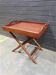 Sale 9017 - Lot 1007 - Timber Tray On Leather Strapped  Folding Timber Stand (H71 x W60 x D70cm)