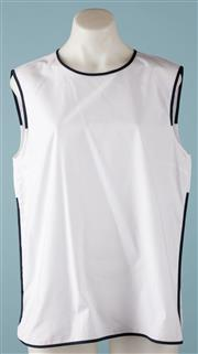 Sale 9090F - Lot 44 - A MAX MARA SLEEVELESS TOP; 100% cotton, white with navy piping trim, size US14 GB16 F 46.