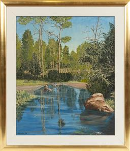 Sale 9099 - Lot 28 - A Robinson, Landscape - River and Trees, Oil on board Signed lower right and dated 66,  60 x 45cm