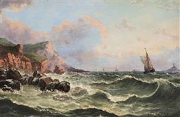Sale 9125 - Lot 622 - Artist Unknown C19th) Ships along the Coast oil cedar panel 18.5 x 29 cm (frame: 32 x 42 x 6 cm) signed lower right