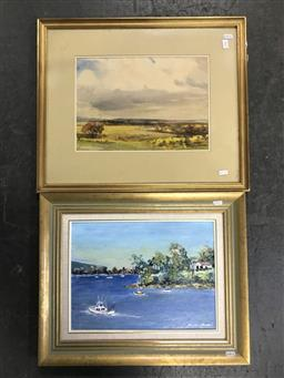 Sale 9113 - Lot 2058 - Artists unknown, oil painting of Sydney harbour and watercolour of a landscape, each signed lower right, largest frame 50 x 60 cm,