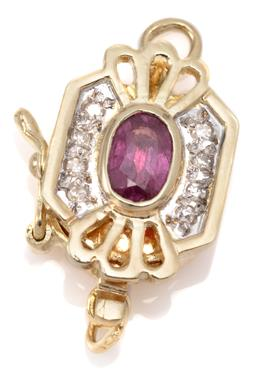 Sale 9132 - Lot 347 - A 14CT GOLD RUBY AND DIAMOND CLASP; centring an approx. 0.30ct oval cut ruby adjacent to 8 single cut diamonds, attached with a safe...